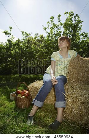 Full length of a thoughtful young woman sitting on hay bales near orchard