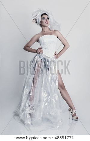 Fashion Model Wearing In Polyethylene Dress