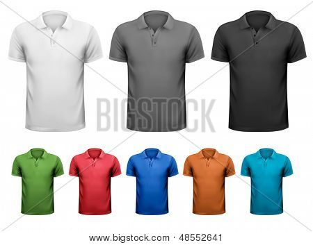 Black and white and color men t-shirts. Design template. Vector illustration