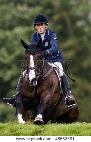 25/06/2011 HICKSTEAD ENGLAND, HIGHLAND CRUISER II ridden by Harriet  Nuttall (GBR) 2nd placed rider in the Bunn Leisure Speed Derby at the Hickstead Equestrian meeting at Hickstead West Sussex England