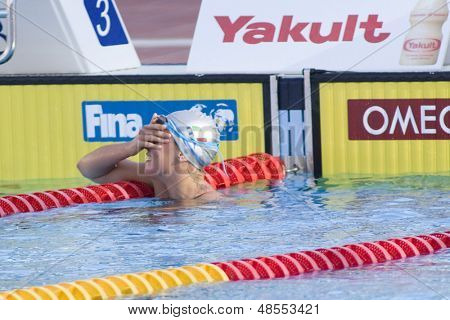 Jul 29 2009; Rome Italy;  Federica Pellegrini (ITA) reacts after winning the gold medal in a world record time of 1.52.98, in the  200m freestyle final at the 13th Fina World Aquatics Championships