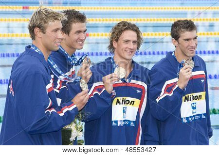 Jul 26 2009; Rome Italy; Team USA gold medal winners at the prize giving ceremony for the Mens 4 x 100m freestyle at the 13th Fina World Aquatics Championships
