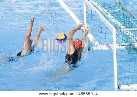 Jul 23 2009; Rome Italy; Carina Harache (NZL) saves a shot competing in the  waterpolo match between Australia and New Zealand in the 13th Fina World Aquatics Championships