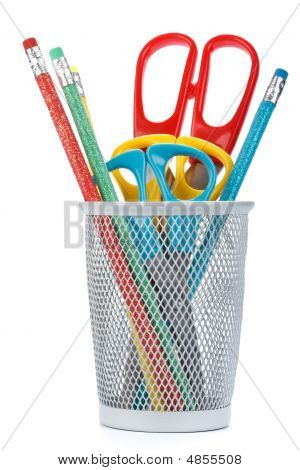 Cup With Scissors And Pencils