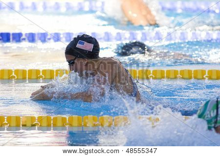 Jul 27 2009; Rome Italy; Rebbecca Soni on her way to setting a new world record of 1.04.84 while  competing in the womens 100m breaststroke semi final at the 13th Fina World Aquatics Championships