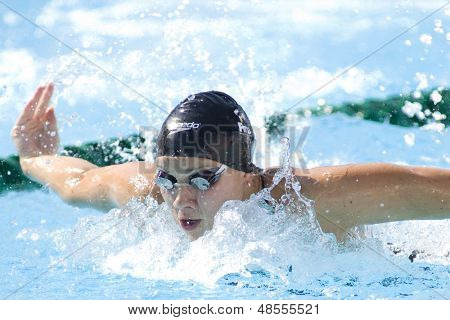 Jul 25 2009; Rome Italy; Sofia Djelic (SLO) competing in the Women's 100m Butterfly at the 13th Fina World Aquatics Championships held in the The Foro Italico Swimming Complex.
