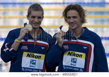 Jul 30 2009; Rome Italy; Eric Shanteau (bronze) and Ryan Lochte (gold) right,  show their medals for the 200m individual medley the race was won by Ryan Lochte (USA) in a world record time of 1.54.10