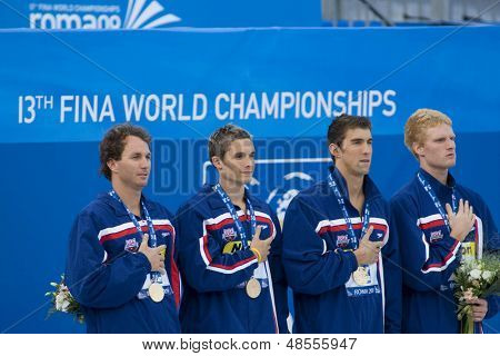 Jul 02 2009; Rome Italy; Aaron Pierson Ryan Lochte Michael Phelps and David Walters  4 x 100m medley winners at the 13th Fina World Aquatics Championships held in the The Foro Italico Swimming Complex