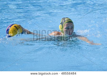 Jul 23 2009; Rome Italy; Jane Moran (AUS) competing in the women's preliminary round match waterpolo match between Australia and New Zealand in the 13th Fina World Aquatics Championships