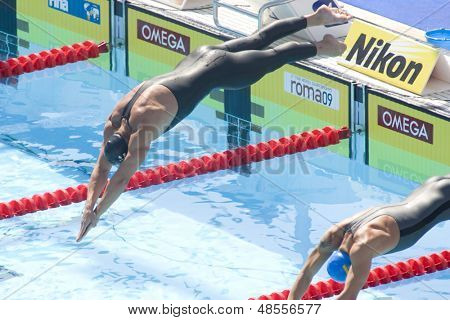 Jul 30 2009; Rome Italy; Maxim Podoprigora (AUT) competing in the qualifying rounds of the 200m breaststroke, at the 13th Fina World Aquatics Championships held in The Foro Italico Swimming Complex