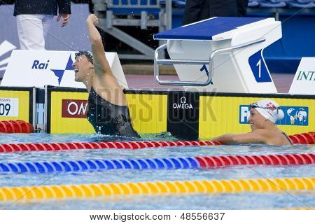 Jul 28 2009; Rome Italy; Kasey Carlson (USA) celebrates winning a bronze medal in the womens 100m breaststroke final at the 13th Fina World Aquatics Championships