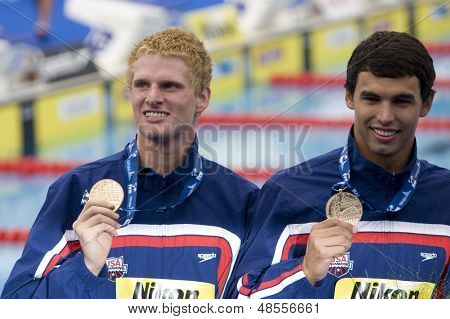 Jul 31 2009; Rome Italy; Ryan Lochte and Ricky Bevens with their gold medals during the medal award ceremony for the 4 x 200m freestyle the race was won by Team USA in a world record time of 6.58.55