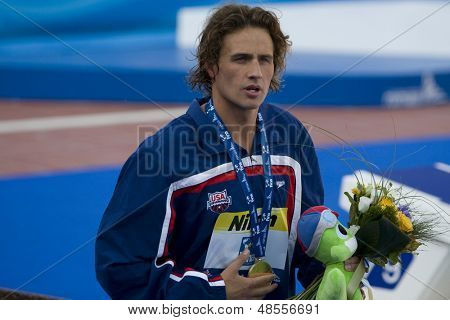 Jul 30 2009; Rome Italy; Ryan Lochte (USA) gold medal winner, during the medal ceremony for the mens 200m individual medley the race was won by Ryan Lochte (USA) in a world record time of 1.54.10