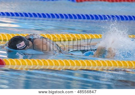 Jul 31 2009; Rome Italy; Michael Phelps (USA) competing in the mens 100m butterfly semi final, at the 13th Fina World Aquatics Championships held in the The Foro Italico Swimming Complex.
