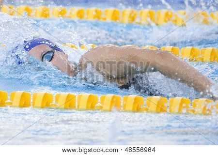 Jul 28 2009; Rome Italy; Joanne Jackson (GBR) competing in the womens 200m freestyle semi final at the 13th Fina World Aquatics Championships held in the The Foro Italico Swimming Complex.