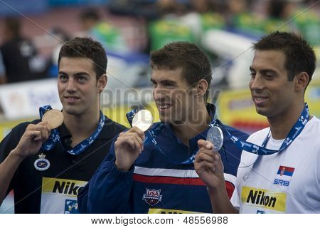 Jul 01 2009; Rome Italy; Raphael Munoz (ESP)  Michael Phelps (USA) and Milorad Cavic (SRB) at the 13th Fina World Aquatics Championships held in the The Foro Italico Swimming Complex.