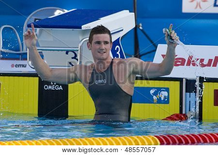 Jul 28 2009; Rome Italy; Cameron Van Der Burgh (RSA) reacts after  the 2nd mens 50m breaststroke semi final in a world record time of 26.92, at the 13th Fina World Aquatics Championships