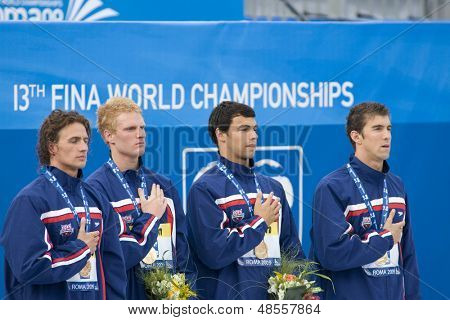 Jul 31 2009; Rome Italy; Michael Phelps, Ricky Bevens, David Walters and Ryan Lochte during the medal ceremony for the 4 x 200m freestyle the race was won by Team USA in a world record time of 6.58.55