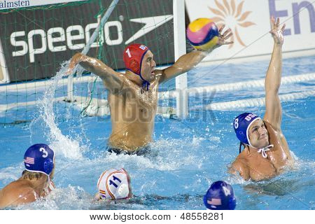 Jul 30 2009; Rome Italy; USA team goalkeeper Merrill Moses saves a shot competing in the semi final match between USA and Spain, at the 13th Fina World Aquatics Championships