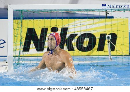 Jul 30 2009; Rome Italy; USA team goalkeeper Merrill Moses competing in the semi final match between USA and Spain, at the final of the 13th Fina World Aquatics Championships