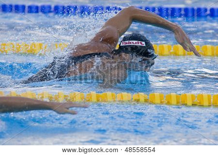 Jul 27 2009; Rome Italy; Michael Phelps (USA) competing in the mens 200m freestyle semi final at the 13th Fina World Aquatics Championships held in the The Foro Italico Swimming Complex.