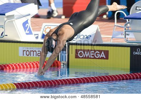 Jul 27 2009; Rome Italy; Sarah Vollmer (USA) competing in the womens 100m butterfly final at the 13th Fina World Aquatics Championships held in the The Foro Italico Swimming Complex.