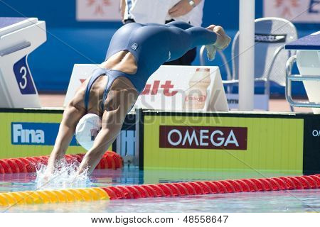 Jul 27 2009; Rome Italy; Rebbeca Soni (USA) competing in the womens 100m breaststroke at the 13th Fina World Aquatics Championships held in the The Foro Italico Swimming Complex.