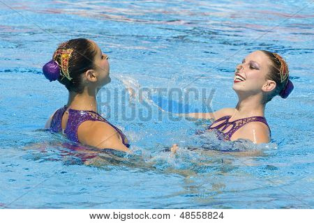 Jul 24 2009; Rome Italy; Nayara Figueira and Lara Teixeira (BRA) competing in the synchronised swimming at the 13th Fina World Aquatics Championships held in the The Foro Italico Swimming Complex.