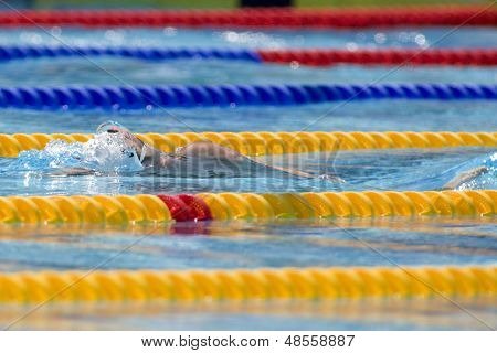 Jul 27 2009; Rome Italy; Aaron Peirsol (USA) competing in the mens 100m backstroke at the 13th Fina World Aquatics Championships held in the The Foro Italico Swimming Complex.