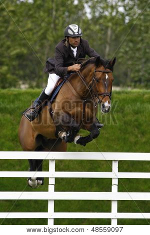 24/06/2011 HICKSTEAD ENGLAND, OLIBERO ridden by Charles  Luyckx (RSA) competing in the Hickstead Master's Challenge at the British Jump Derby Equestrian meeting held at Hickstead West Sussex England