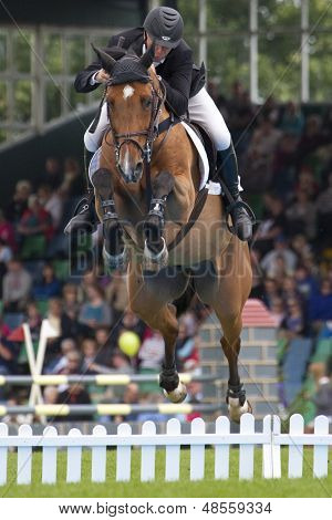 24/06/2011 HICKSTEAD ENGLAND, RONALDO 110 ridden by Mark  Armstrong (GBR) competing in the Bunn Leisure Derby trial at the British Jump Derby Equestrian meeting held at Hickstead West Sussex England