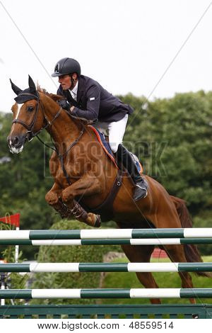 24/06/2011 HICKSTEAD ENGLAND, TITUS ridden by Guy  Williams (GBR) competing in the Hickstead Master's Challenge at the British Jump Derby Equestrian meeting held at Hickstead West Sussex England