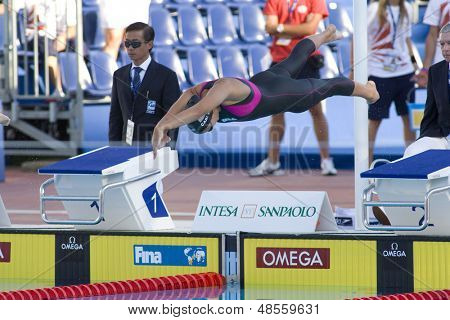 Jul 27 2009; Rome Italy; Kasey Carlson (USA) competing in the womens 100m breaststroke semi final at the 13th Fina World Aquatics Championships held in the The Foro Italico Swimming Complex.