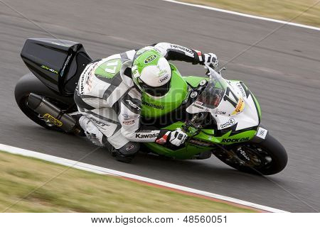 26 Sept 2009; Silverstone England:Rider number 17 Simon Andrews GBR riding for MSS Colchester Kawasaki   during the free practice session of the British Superbike Championship: