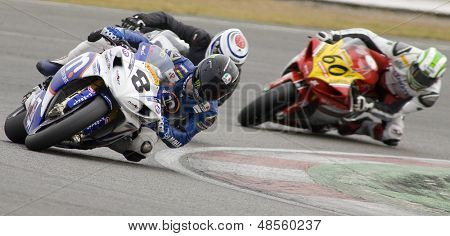 26 Sept 2009; Silverstone England: Rider number 8 Graeme Gowland GBR  Rider number 12 David Johnson AUS  and Rider number 6 Tristan Palmer GBR  at the British Superbike Championship: