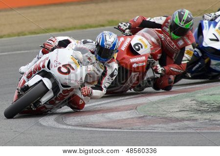 26 Sept 2009; Silverstone England: Rider number 5 Karl Harris GBR and Rider number 6 Tristan Palmer GBR   during the free practice session of the British Superbike Championship: