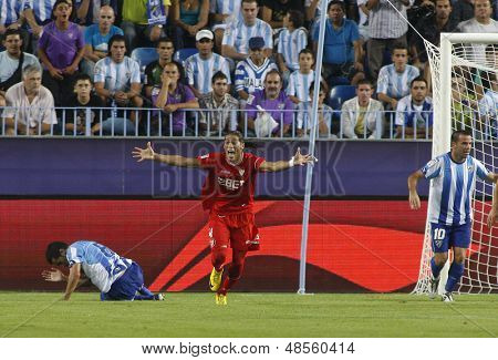 MALAGA, SPAIN. 19/09/2010. Mart�?�?�?�­n Caceres a Sevilla defender appeals for a penalty during the La Liga match between CF Malaga and Sevilla, played in the La Rosaleda Stadium