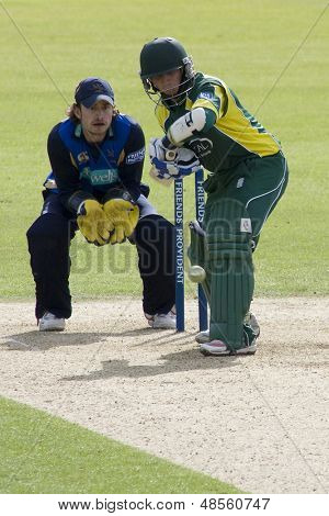 May 03 2009; Southampton Hampshire, J Taylor   batting watched by T Burrows  competing in Friends Provident trophy 1 day cricket match between Hampshire and Leicestershire played at the Rose Bowl.