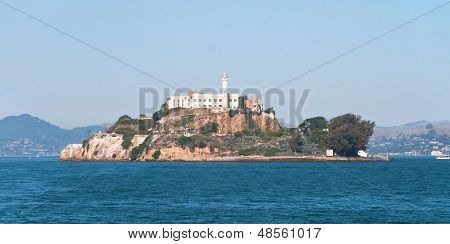 Alcatraz Jail Island In San Francisco Bay With A Beautiful Blue Sky In Background Panorama