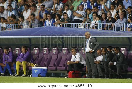 MALAGA, SPAIN. 19/09/2010.  The Malaga team bench, during the La Liga match between CF Malaga and Sevilla, played in the La Rosaleda Stadium