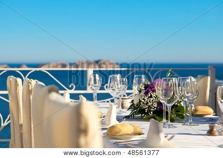 Elegant Wedding Table With Sea Views