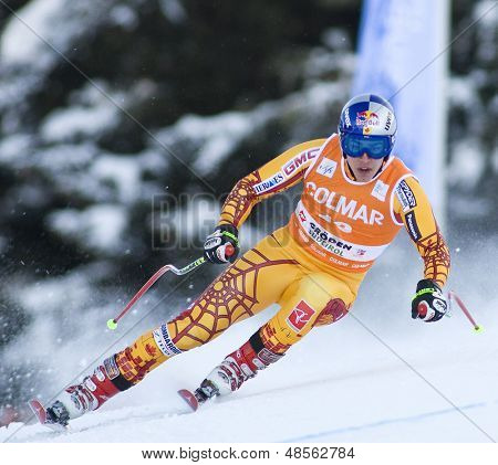 VAL GARDENA, ITALY 16 December 2009. Erik Guay (CAN) while competing in the Audi FIS Alpine Skiing World Cup downhill training session