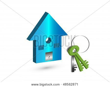 Concept Of Own House With Beautiful Blue Color 3D Image Of Toy House with a key set