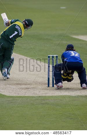 May 03 2009; Southampton Hampshire, H Dippenaar   hits the ball straight to a fielder and is out competing in Friends Provident trophy 1 day cricket match played at the Rose Bowl.