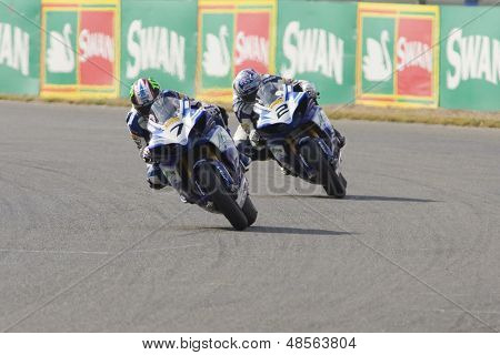 27 Sept 2009; Silverstone England: Rider number 7 James Ellison (GBR) leads Rider number 2 Leon Camier (GBR),  at the MCE Insurance British Superbike Championship:
