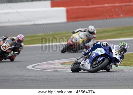 27 Sept 2009; Silverstone England: Rider number 7 James Ellison (GBR) riding for Airwaves Yamaha  during race 2 of round 11,  at the MCE Insurance British Superbike Championship
