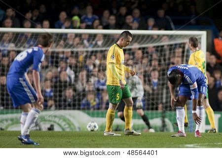 LONDON ENGLAND 23-11-2010. Chelsea's forward Didier Drogba  gets an injured ankle during the UEFA Champions League group stage match between Chelsea FC and MSK Zilina