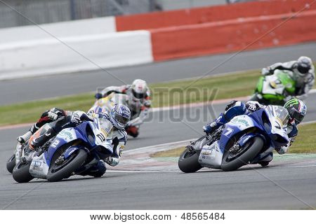 27 Sept 2009; Silverstone England: Rider number 7 James Ellison (GBR) leads Rider number 2 Leon Camier (GBR)  during race 2 of round 11,  at the MCE Insurance British Superbike Championship