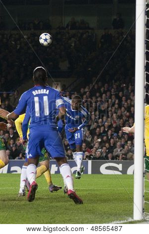 LONDON ENGLAND 23-11-2010. Chelsea's forward Salomon Kalou (21) heads the ball into the penalty area during the UEFA Champions League group stage match between Chelsea FC and MSK Zilina