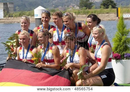 MONTEMOR-O-VELHO, PORTUGAL 12/09/2010. German team, PAUS Eva KNIEST Anika SIERING Constanze GUENTHER Silke THIEM Kathrin SENNEWALD Ulrike WENGERT Nina KIPPHARDT Anna-Maria SCHWENSEN Laura,